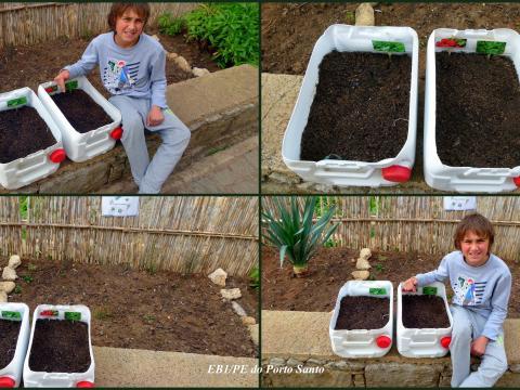 A horta tem a participação do aluno do ensino especial que desenvolve nela uma parte da sua componente prática (CEI). Plantou, semeou e frequentemente a rega.