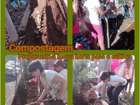 Preparação da horta com adubo natural - compostagem.