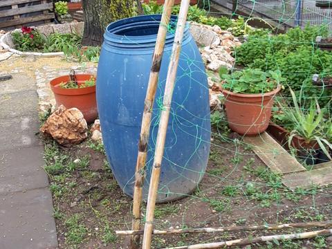 Bidão de 200 litros para a recoilha da água da chuva.